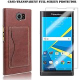 Blackberry Priv Case,Kupx Blackberry Priv Pu Leather Wallet Protective Cases With Stand Card Holder For Blackberry Priv With 1 Screen Protector Brown