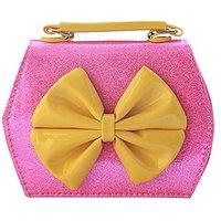 Happy Cherry Little Girls PU Handbag Bowknot Shoulder Purse Bag-Fluorescent pink
