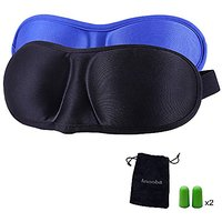 Sleep Mask Eye Mask For Sleeping, 3D Sleeping Mask With 2 Pack, Best Cover For Nap Or Travel, Comes In A Carry Pouch, Includes Ear Plugs, Travel Pouch For Men, Women, Kids