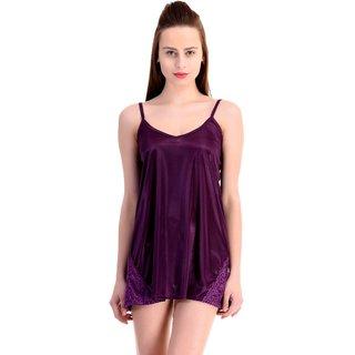 CLAURA Purple Satin Plain Babydolls
