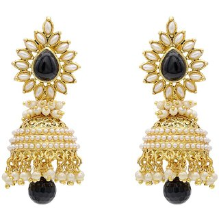 Jewels Capital Exclusiv Golden Black White Earrings Set /S 1676