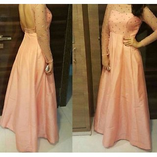 Fancy  Material gown Dress Orange Colour