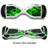 Two Wheels Self Balancing Electric Scooters Vinyl Stickers Balance Board Skins Hover Boards Protective Decals Skate Board Covers for Smart Bluetooth Mobility Scooter - Green Fire