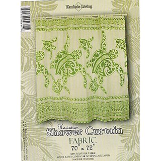 Hawaiian Theme Fabric Shower Curtain Lucky Huno Turtle Family Sage Green