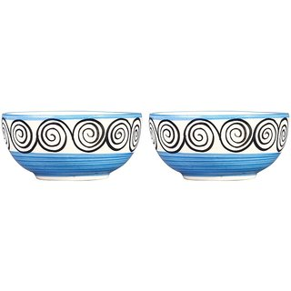Dining Dessert Bowl Ceramic/Stoneware in Blue Doodle Handmade By Caffeine-Set of 2