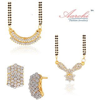 Aarohi Designer Gold Plated Australian Diamond Jewellery Combo