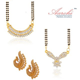 62843c7b8e982 Arohi Gold Designer Alloy Casual Gold Plated 2 Pair Of Mangal Sutra With  Chains , 1 Earring (Combo)