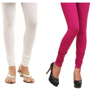 Kriso White And Pink Cotton Lycra Pack Of 2 Leggings