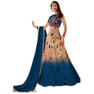 Heavy Net  Benglori Fabric Heavy Embroidered  Digital Print Work Salwar Suit For Women ( Navy BlueBeige SSUE2278