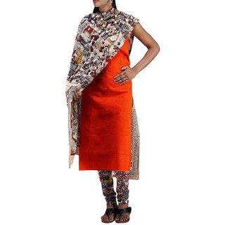 Samlish Collections Women Unstitched Orange-Cream Pure Kalamkari Cotton Salwar Suit