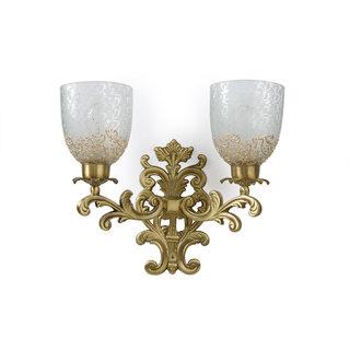 Fos Lighting Guldasta Double Antique Brass Sconce