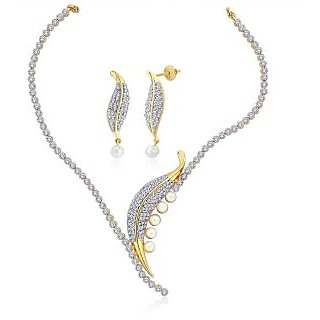 """Peora 18 Karat Gold Plated Cubic Zirconia And Pearl """"Tiara"""" Leaf Necklace Earrings Set"""