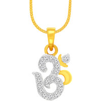 Spargz Temple Daily Wear Spiritual Brass Gold Cubic Zircon Pendant For Women AIP 082