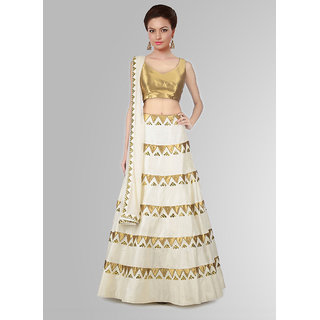 WOMANIYA ONLINE  WHITE  GOLDEN PRINTED RAW-SILK LEHENGHA