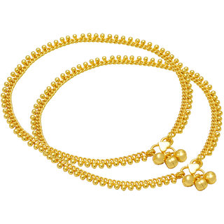 Memoir Gold plated Ethnic Beaded Bridal wedding Auspicious marriage Wedding Anklets for Women