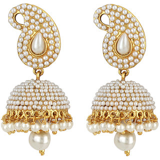 Jewels Capital Exclusive Golden White Earring Set /S 1709