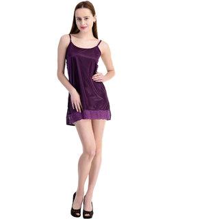 3acae8356e5 Buy Claura Women Stalish Satin Short Nighty (Purple) Online   ₹549 from  ShopClues