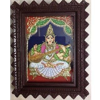 Silverz- Goddess saraswathi - Tanjore painting