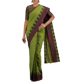 Priya Collections Women Green Pure Handloom Chettinadu Cotton Plain Saree