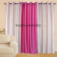 Sweet Home 2 Cream & 1 Pink Beautiful Combo Curtain(set Of 3 Pcs)1011