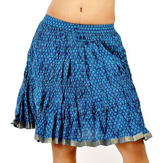 Ethnic Trendy Crushed Blue Cotton Short Skirt 208 [CLONE]