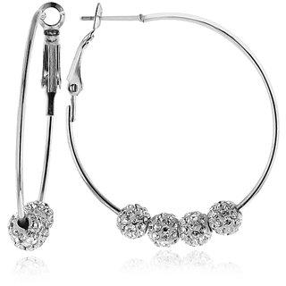 White Crystal Beaded Hoop Earrings in Stainless Steel