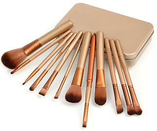 Cosmetic Makeup Brush Set of 12 Pieces with Storage Box