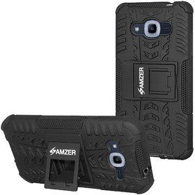 Amzer Hybrid Warrior Case - Black/ Black for Samsung Galaxy Grand Prime Plus SM-G532F, Samsung Galaxy J2 Prime SM-G532G