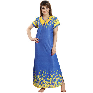 Be You Fashion Women Serena Satin Blue-Yellow Floral Printed Nightgown