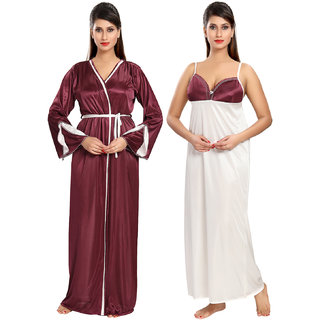 d812dd017 Buy Be You Fashion Women Satin Wine color Solid 2 piece Nighty Set ...