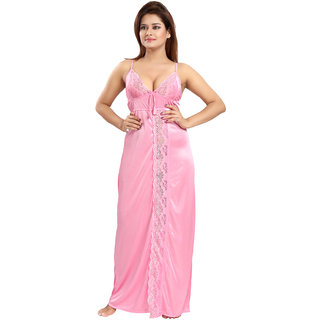 Be You Fashion Women Satin Pink Solid Lace Nighty
