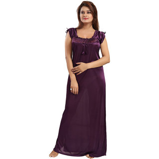 Buy Be You Fashion Women Satin Violet Solid Lace Nighty Online - Get ... 92dce1d47