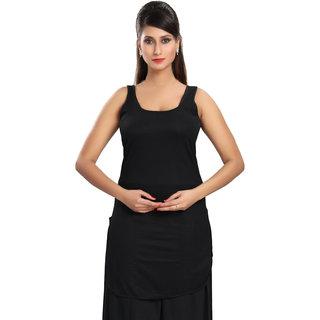 Be You Fashion Women Cotton Hoisery Black Solid Suit Slip
