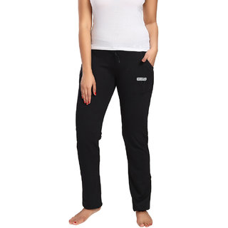 Be You Fashion Women Cotton Black Solid Track Pant