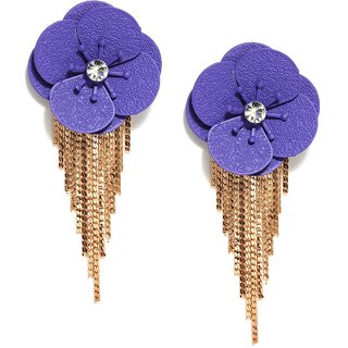 Golden Peacock Purple & Gold Plated Drop Earrings
