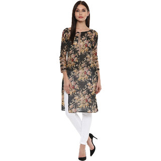 Ahalyaa black vintage floral poly chiffon kurti for women