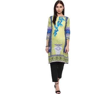 Ahalyaa Lemon Green Floral Pakistani Cotton Kurti