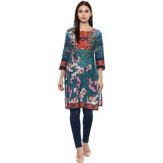 Ahalyaa shades of blue pakistani style floral cotton kurti
