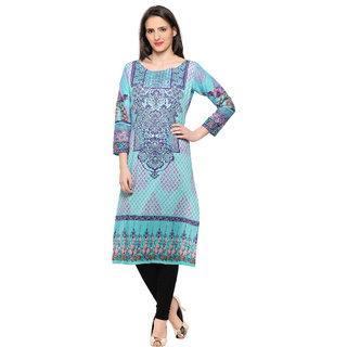 Ahalyaa Light Blue Lavender Floral Damask Pakistani Cotton Kurta for women