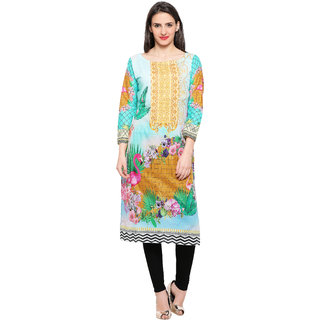 Ahalyaa Full Sleeve Digital Printed Cotton Kurti for Women
