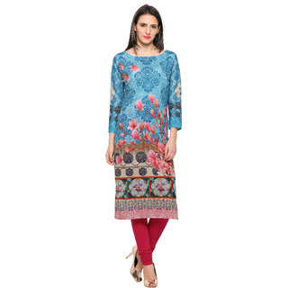 Ahalyaa Blue & Pink Floral Damask Digital Printed Cotton Kurti for women