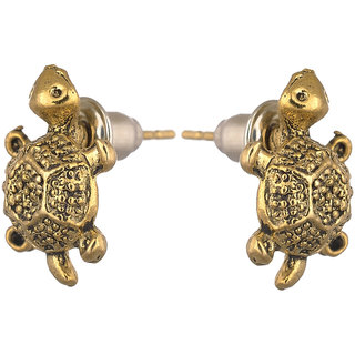Men Style Small Turtle or Tortoise Gold Stainless Steel Surgical Stud Earring For Men And Women