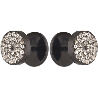 d07441e35 Men Style 8 mm Trendy Round Crystal Rhinestone Black Stainless Steel  Surgical Stud Earring For Men And Women