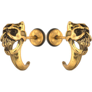 Men Style Biker Punk Dragon Gold Stainless Steel Surgical Stud Earring For Men And Women