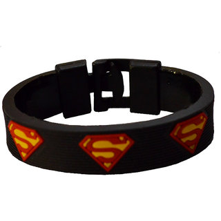 Men Style Superman Inspired Black, Red and Yellow Silicone Round Bracelet For Men And Boys