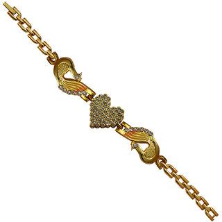 Men Style Crystal Peacock Shape Gold  Alloy Heart Link Bracelet For Girl And Women