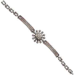 Men Style Crystal Flower Silver Alloy Circle Link Bracelet For Girl And Women
