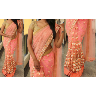 Aahwan Pink Net Embroidered Saree With Blouse