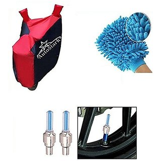 AutoStark Accessories Bike Body Cover Red & Blue + Tyre Led Light Blue + Bike Cleaning Gloves For TVS Apache RTR 160