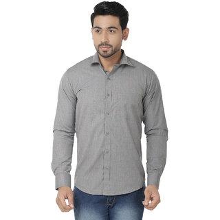 Kalpatru Cotton Grey Formal Solid Shirt for Men